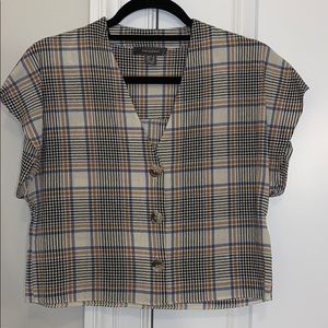 plaid boxy crop blouse Vneck